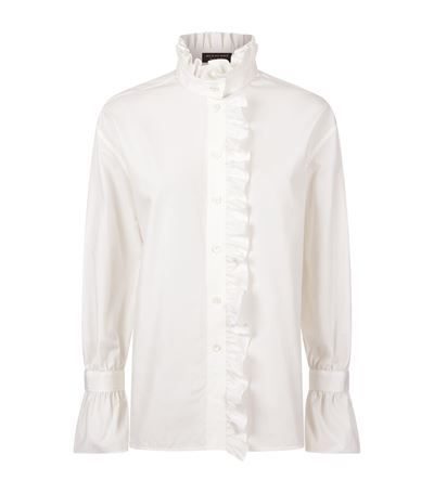 Burberry Runway Ruffled High Neck Shirt White available to buy at Harrods. Shop designer women's shirts online and earn Rewards points.
