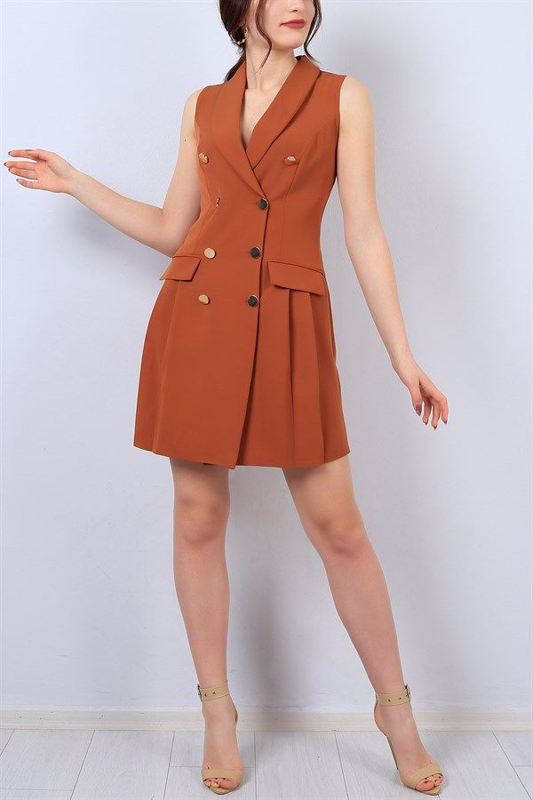 72 95 Tl Taba Kruvaze Yaka Bayan Ceket Elbise 13646b Modamizbir Elbise Moda Stilleri Gomlek Elbise