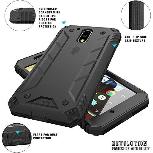 Poetic Revolution Series Rugged Hybrid Case with Built-In Screen Protector for Motorola Moto G4 - Black