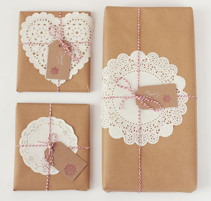 Wrapping with doilies, brown paper, and peppermint string.