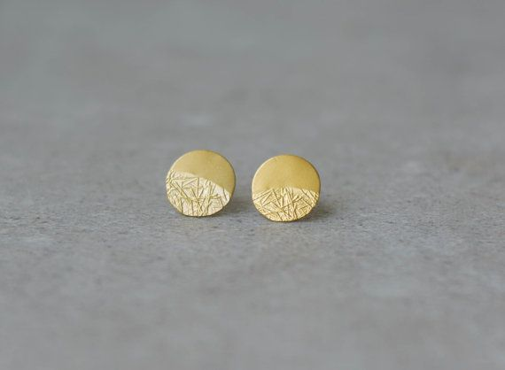 gold disc earrings, minimalist circle studs, gold coin posts, golden round texture earrings, simple, Valentine gift, designer jewelry baladi