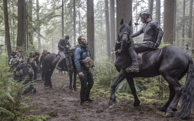 Dawn of the Planet of the Apes Set Photo: Jason Clarke and Andy Serkis in the Woods