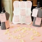 Coco Chanel Bridal Shower place card display. All props were purchased at HomeGoods.