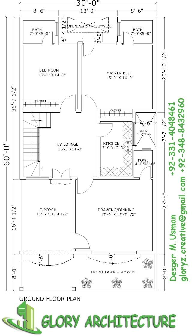30 60 House Plan 6 Marla House Plan 10 Marla House Plan Model House Plan My House Plans