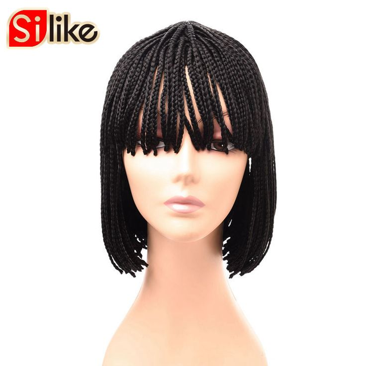 Silike 10 12 inch Short Braided Bob Synthetic Lace Wig Pure Natural Black Box Braid Wigs with Bangs for Black Women 1 piece #Affiliate