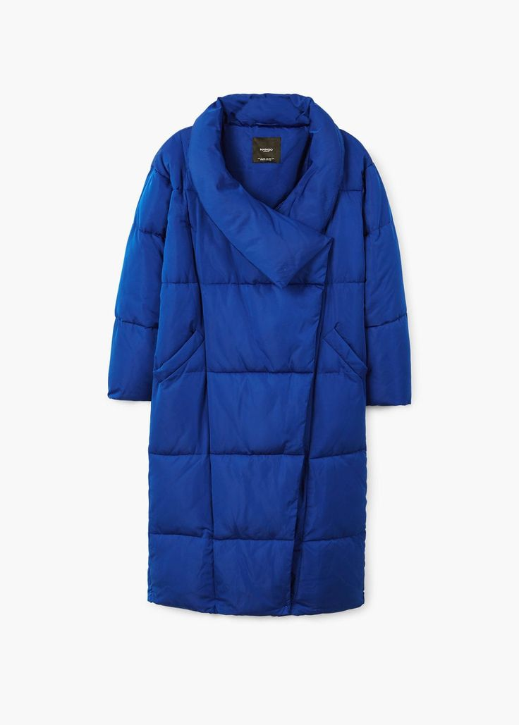 Blue quilted coat| MANGO. FW 2017/2018 Trends