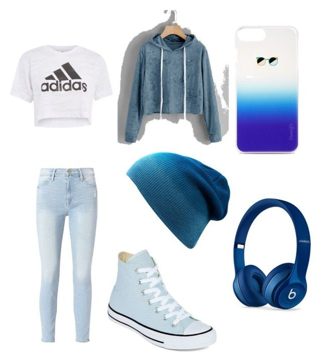 """""""Ravenclaw Casual"""" by unstoppablejiley on Polyvore featuring Frame, Converse, Casetify, Beats by Dr. Dre and Topshop"""