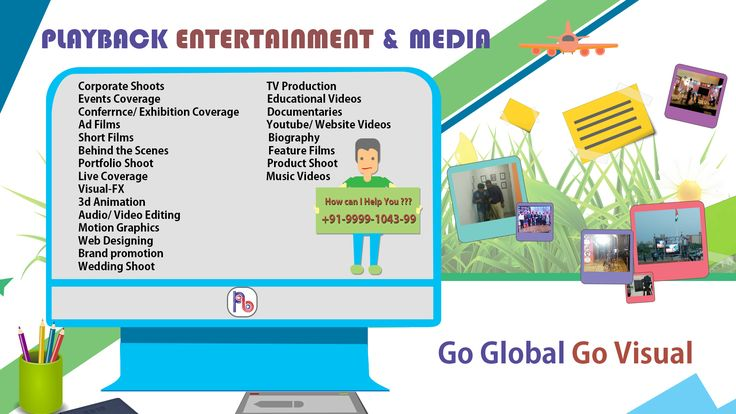 We manage productions of Corporate Shoot// Ad Films//Event//Conference//Exhibition, Educational Video// Webinar//YouTube//Website Video// Biography //Documentaries// Live Coverage// Feature Film & TV productions// Product Photography//Portfolio, 2D / 3D Animation//Editing//Wedding//Social Media Marketing// Do visit our Website  www.playbackmedia.in Do Linke Us On - www.facebook.com/mediaplayback Watch our Works - www.youtube.com/PlaybackEntertainmentandMedia  call us on  +919999104399