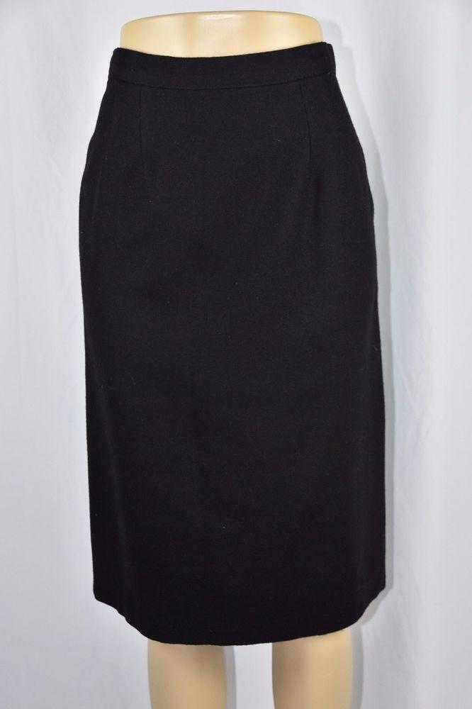 Briggs Womens 10 Solid Black 100% Wool Straight Pencil Skirt Mid Calf Modest #Briggs #StraightPencil