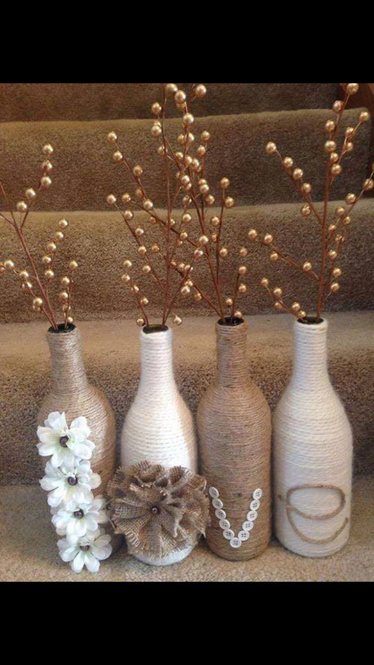 Cute craft for Recycling your old wine bottles. Black chalkboard paint,  twine, wooden letters, and decorative flowers. | twine idea | Pinterest |  Black ...