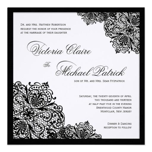 Black Lace White Linen Square Wedding Invitations
