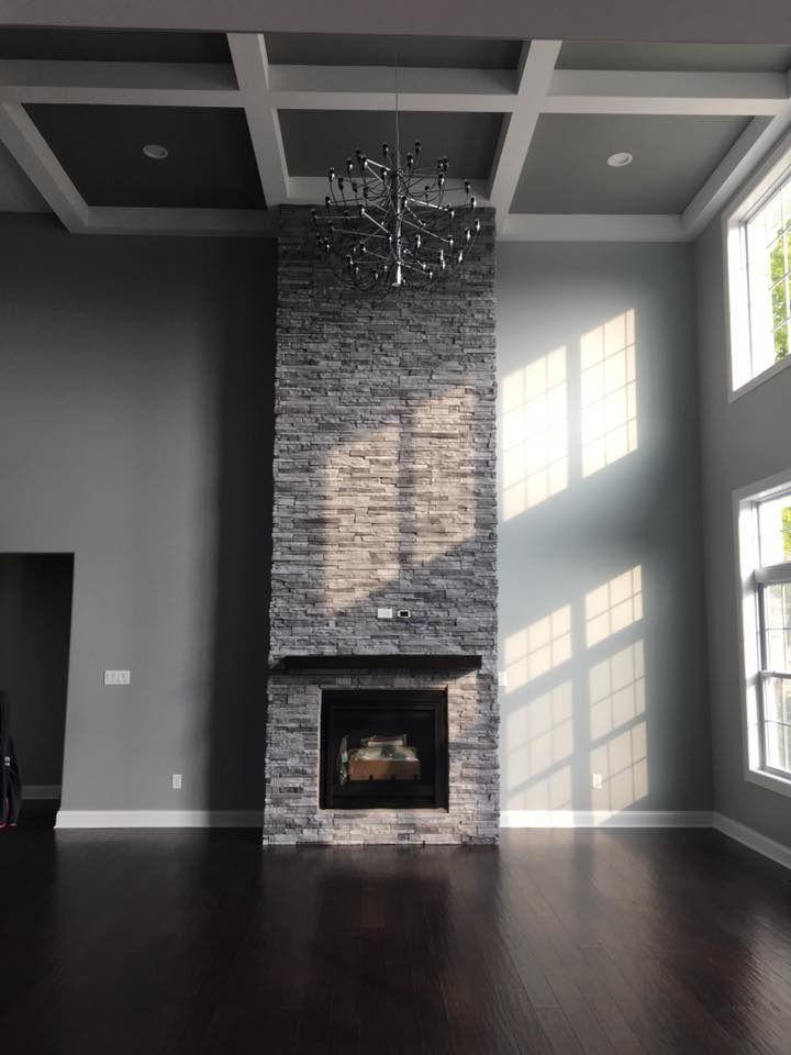 Stone Veneer Fireplace Floor To Ceiling Rocca Stack Ease J N Stone