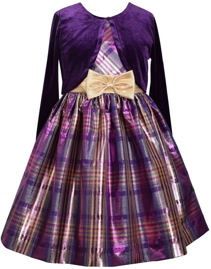 b5889a9654307 Girls 7-16   Plus Size Bonnie Jean Plaid Sleeveless Dress   Cardigan ...