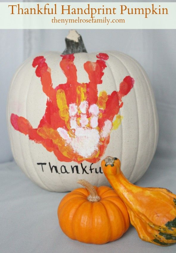 Thankful handprint pumpkin! Have everybody in your family dip their hand in a different color paint and stamp on largest to smallest.