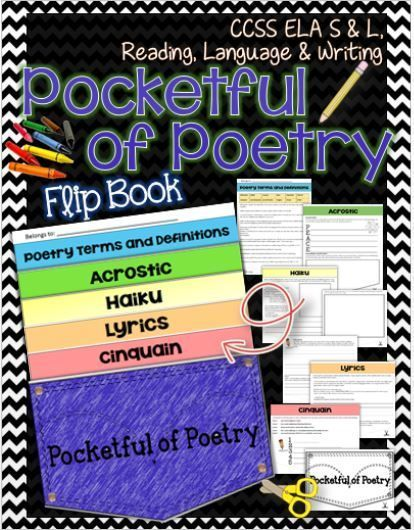 Pocketful of Poetry Flip Book- Grades 6-12. Poetry terms and definitions, Cinquain, Lyrics, Haiku, and Acrostic. Background, organizer, questions, writing and illustration space, assignment....and fun! CCSS ELA Speaking & Listening, Reading, Language & Writing. ($)