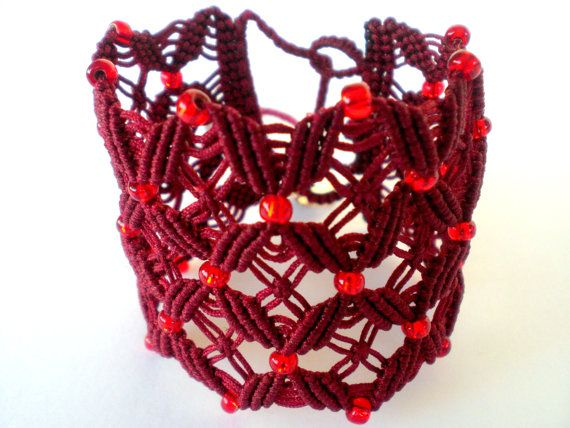 This fantastic bracelet was made using macrame knotting techniques with waxed cord. width: 4,5-5 cm length of knotted area:14-14,5 cm about Closure with two metal buttons. The bracelet is adjustable. When you buy the bracelet you tie up a knot front from the metal button in the length that you want, depending on the size of your hand. Cut the additional cord and stabilize the edge burning with lighter. Also I can make you the exact size you want so there is no need for further change. The…