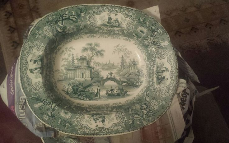 CHIANG NAN CHINA DEEP PLATE GREEN TRANSFER VERY RARE in Pottery, Porcelain & Glass, Date-Lined Ceramics, c.1840- c.1900 | eBay!