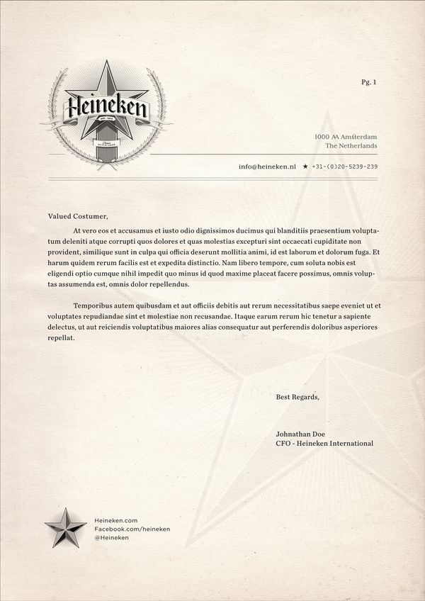 Heineken Letterheads by Josh Parenti, via Behance