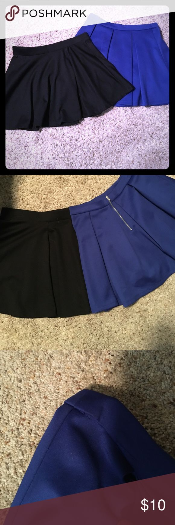 Skater Skirt Bundle 🔹◾️ 2 skater skirts, both from Forever 21. Blue skirt is size M, with minor stitching flaws on band & some snags (pictured), silver zip up back. Black skirt is size L, elastic waist, only worn once. Both are stretchy, can fit either M or L. Forever 21 Skirts Circle & Skater