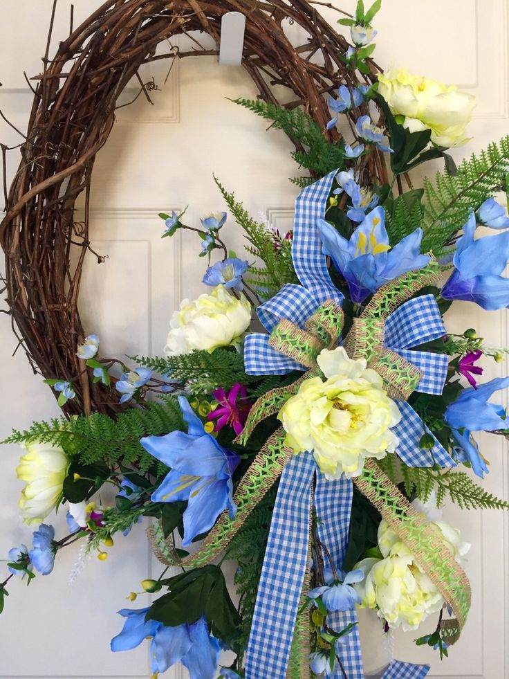 Oval Summer or Spring Grapevine Wreath by