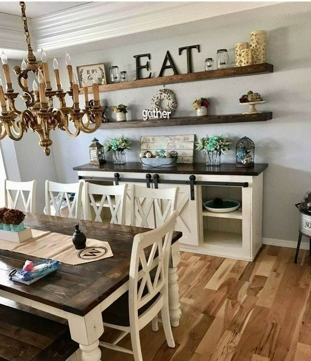 30 Simple Kitchen Wall Decor Ideas To Give You Inspiration In 2020 Dining Room Buffet Farmhouse Style Dining Room Large Farmhouse Dining Table
