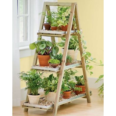 13 Small Garden Ideas - A frame with gravel on shelves.