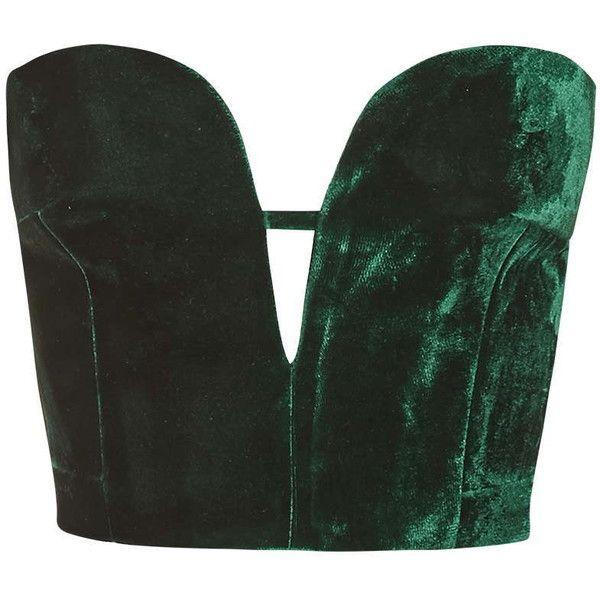 TopShop Velvet Plunge Bralet ($26) ❤ liked on Polyvore featuring tops, shirts, crop tops, bralet, dark green, cut out tops, dark green shirt, tailored shirts, velvet crop top and velvet top