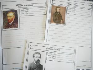 Famous artist book for students to fill in information - Degas, Seraut, Van Gogh, (and ten others)