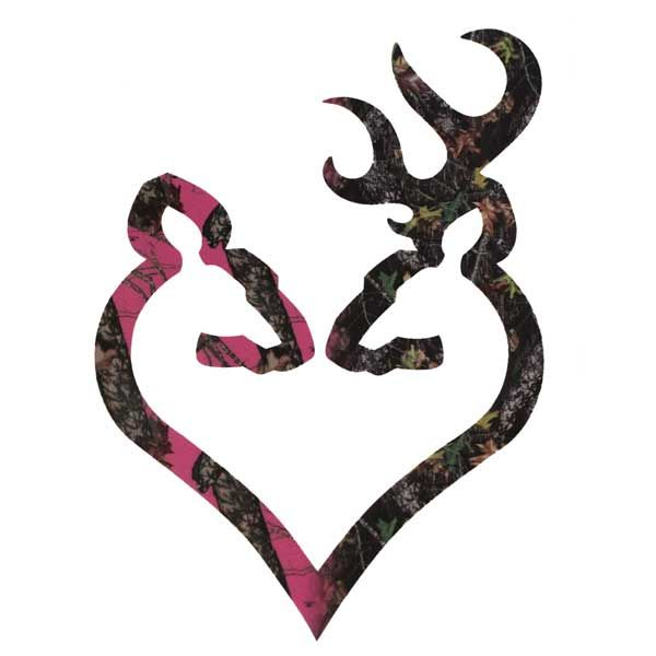 "Browning Buck and Doe Heart Decal 6"" Hot Pink & Camo"