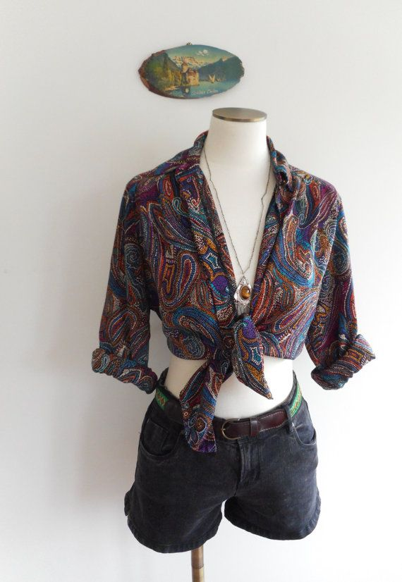 RESERVED Vintage 90s Tribal BLOUSE // ABORIGINAL Style Dot