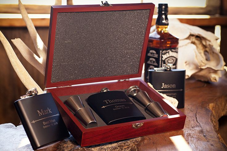 Rosewood Flask Gift Set, Personalized Groomsmen Gift, Custom Engraved Groom Flask +Funnel +Shot Glasses in Wood Box, Best Man,Bachelor Party by SinCityEngraving on Etsy https://www.etsy.com/listing/240882861/rosewood-flask-gift-set-personalized
