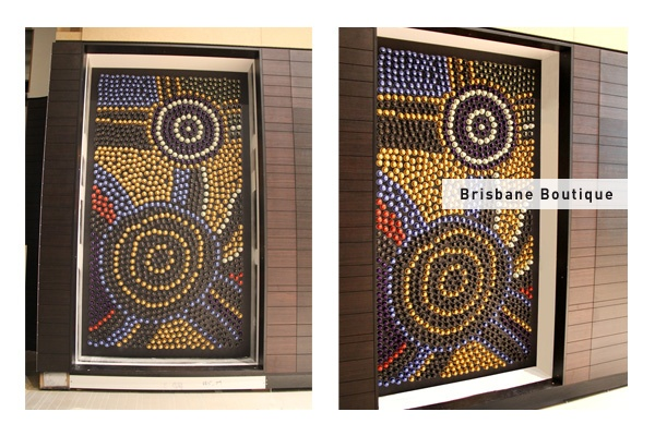 Nespresso Brisbane Boutique capsule art - This installation was created by Balarinji Design Studio with proceeds going to Indi Kindi, an Aboriginal pre-literacy program. Take a closer look next time you're in a boutique!