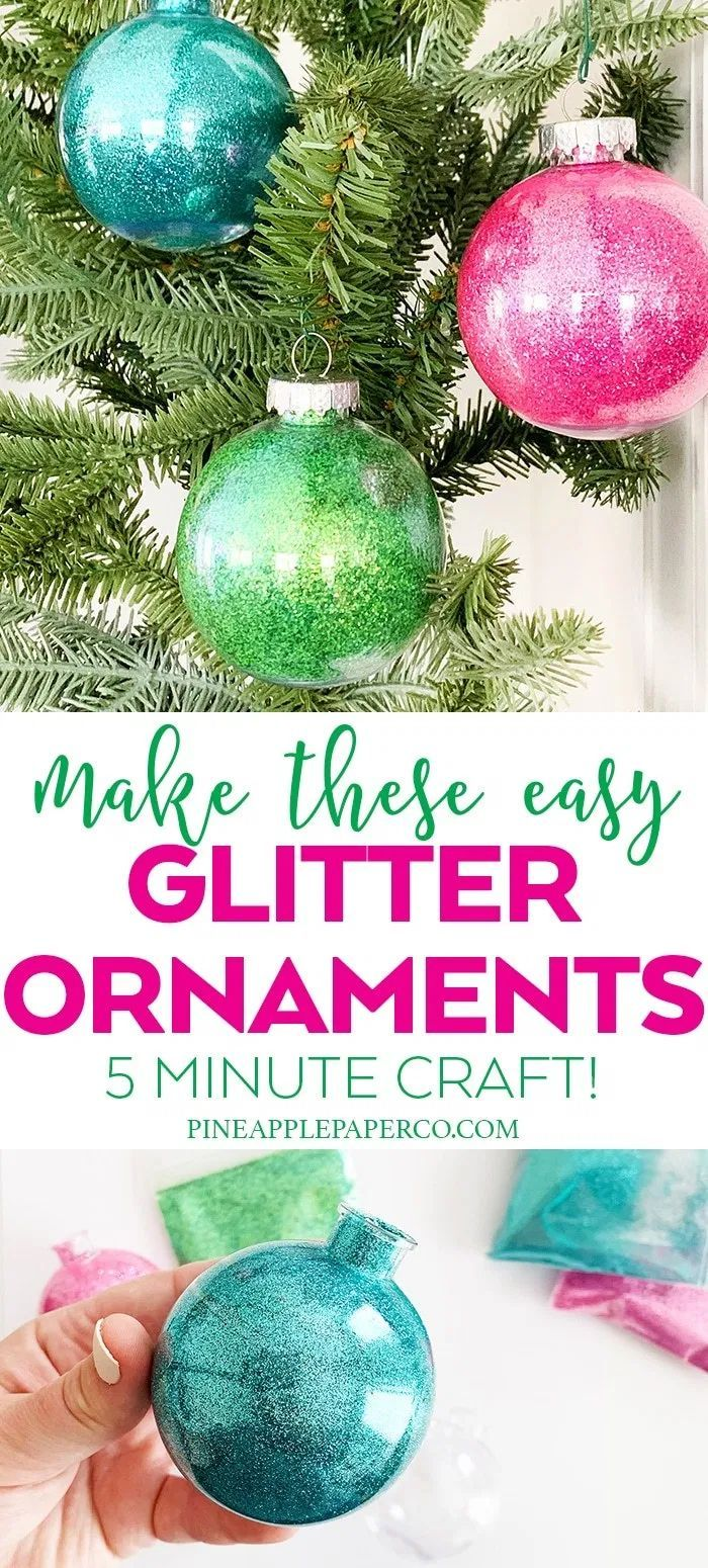 How To Make Easy Glitter Ornaments Christmas Glitter Ornaments Clear Christmas Ornaments Glitter Projects