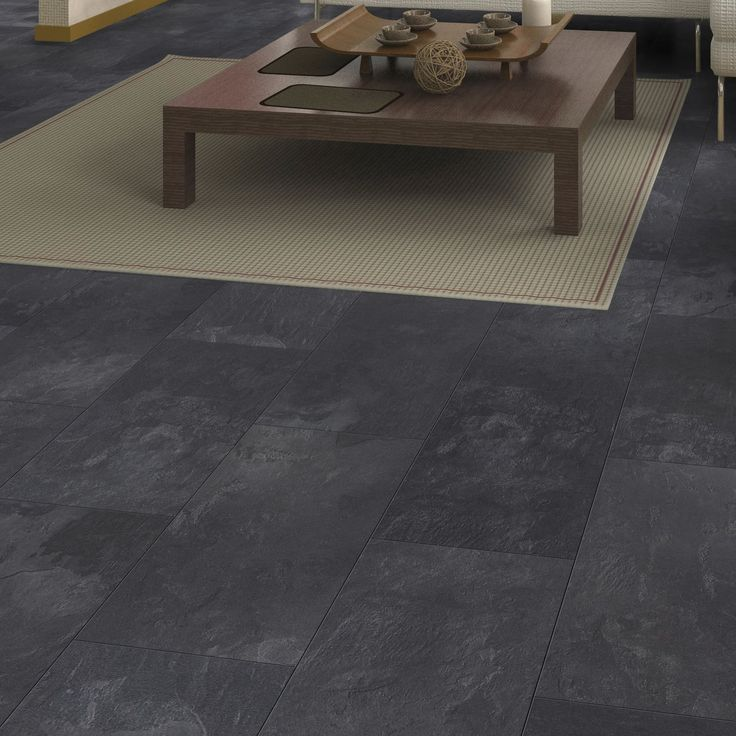 Colours Harmonia Black Slate Tile Effect Laminate Flooring 2 05m Pack Departments Diy At