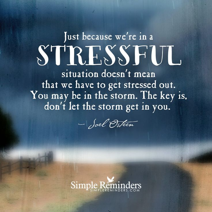 """""""Just because we're in a stressful situation doesn't mean that we have to get stressed out. You may be in the storm. The key is, don't let the storm get in you.""""  — Joel Osteen"""