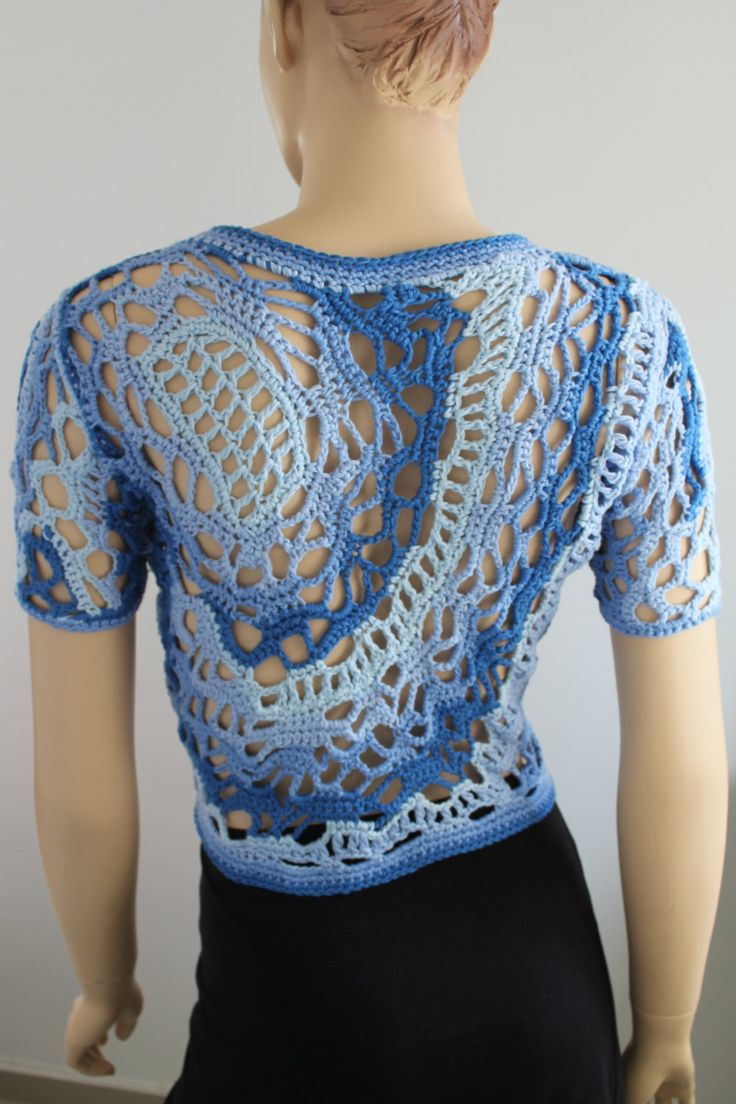 Cotton  Freeform Crochet Cardigan - Shrug - Jacket - Summer  - OOAK. $155.00, via Etsy.