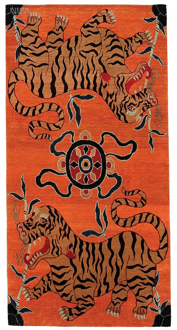 28 Fresh Picks in Flooring | Chakra Tak by Ralo. Tsering Lhungay has reproduced exact replicas of ancient Tibetan tiger rugs including the rip-roaring Chakra Tak. #interiordesign #interiordesignmagazine #flooring #Ralo