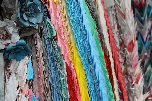 Colorful folded cranes, folding 1000 cranes is meant to cure sickness