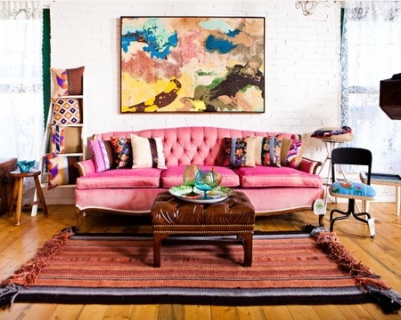 The Decorista-Domestic Bliss: NEEDING. WANTING. LOVING. a pretty pink sofa: Idea, Pink Sofas, Pink Couch, Living Rooms Design, Color, Interiors Design, Eclectic Living Rooms, Interiordesign, Bohemian Design