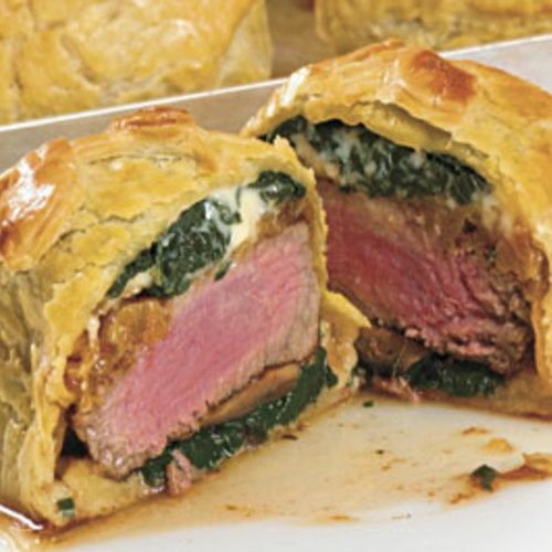 Individual Beef Wellingtons with Mushroom, Spinach & Blue Cheese Filling - FineCooking
