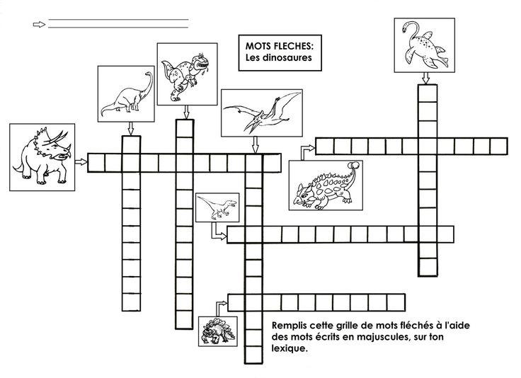 Remplir une grille de mots fléchés en majuscules, à l'aide du lexique des dinosaures.  - mots fléchés.docx  - mots fléchés.pdf
