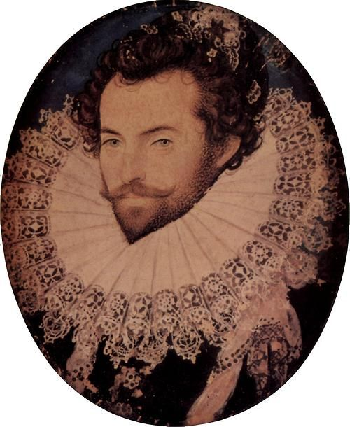 "Hillard, Nicholas - Sir Walter Raleigh  ""Sir Walter Raleigh (/ˈrɔːli/, /ˈræli/, or /ˈrɑːli/;[1]ca. 1554 – 29 October 1618) was an English aristocrat, writer, poet, soldier, courtier, spy, and explorer. He is also well known for popularising tobacco in England.""  Wiki has a version of the image with better colour balance, but it's smaller."