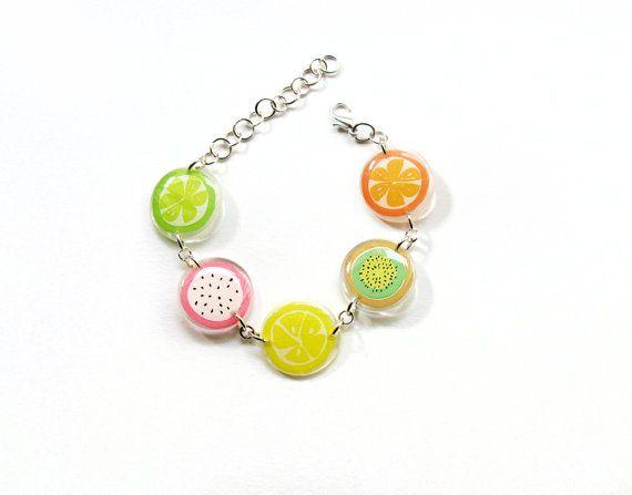 Fruit Bracelet, Summer Fruit Bracelet, Kiwi Orange Lemon Bracelet, Lime Bracelet, Acrylic Resin Jewelry, Lazer cut Plexiglass Discs Cuff
