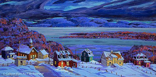 Vladimir Horik, 'Sur la côte de Charlevoix', 18'' x 36'' | Galerie d'art - Au P'tit Bonheur - Art Gallery