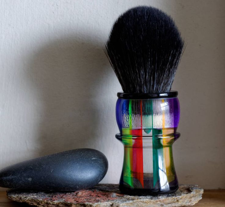 Shaving Brush - Hand-Made with Prisma Acrylic Acetate and Black Resin Handle and a Choice of Knots by LoveYourShave on Etsy