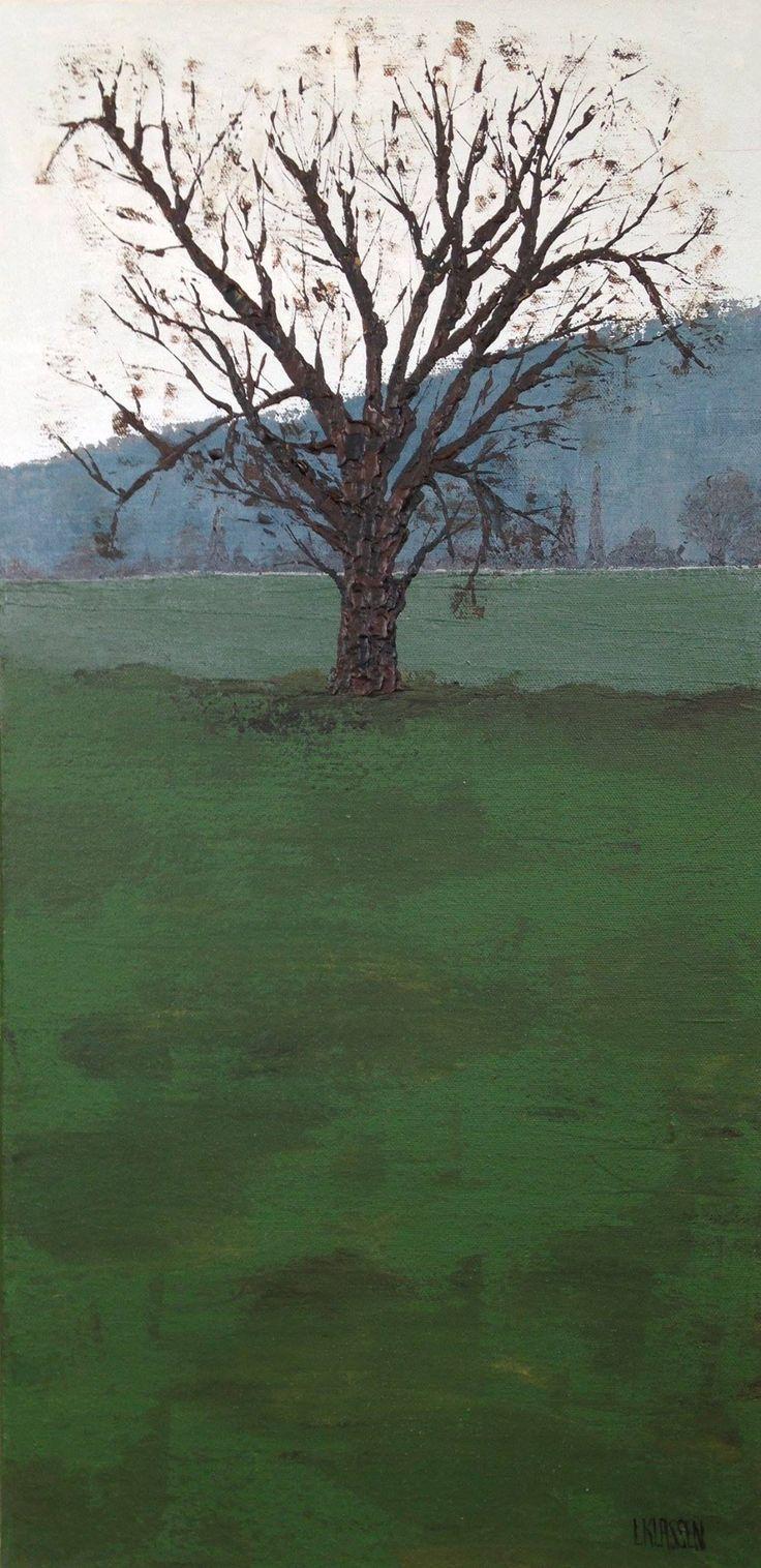 Foggy Morning, Acrylic on canvas, 24 x 12 inches