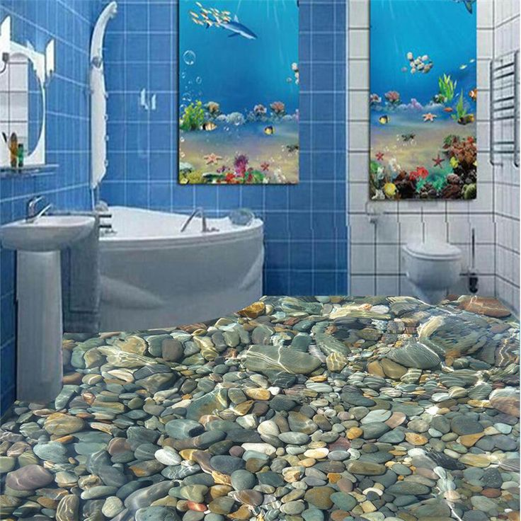 Modern painting 3D floor bathroom mural color natural pebbles non-slip waterproof thickened self-adhesive PVC Wallpaper sticker(China (Mainland))