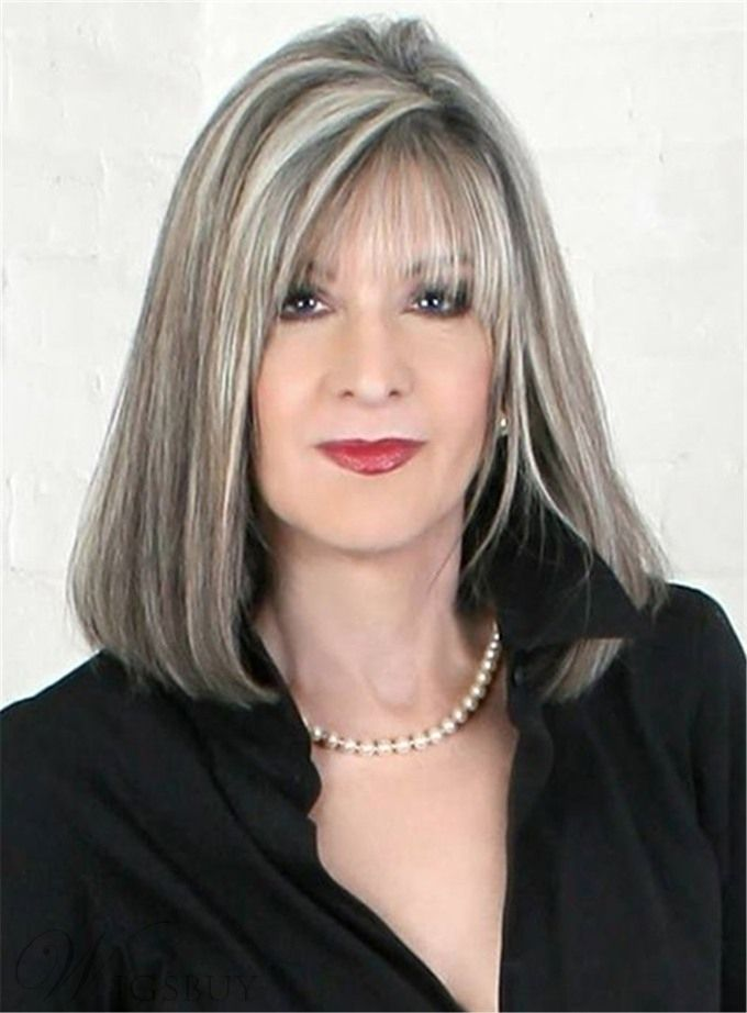 Mid Length Straight Capless White 14 Inches Synthetic Hair Bob Wig With Bangs Hair Highlights Transition To Gray Hair Gray Hair Highlights