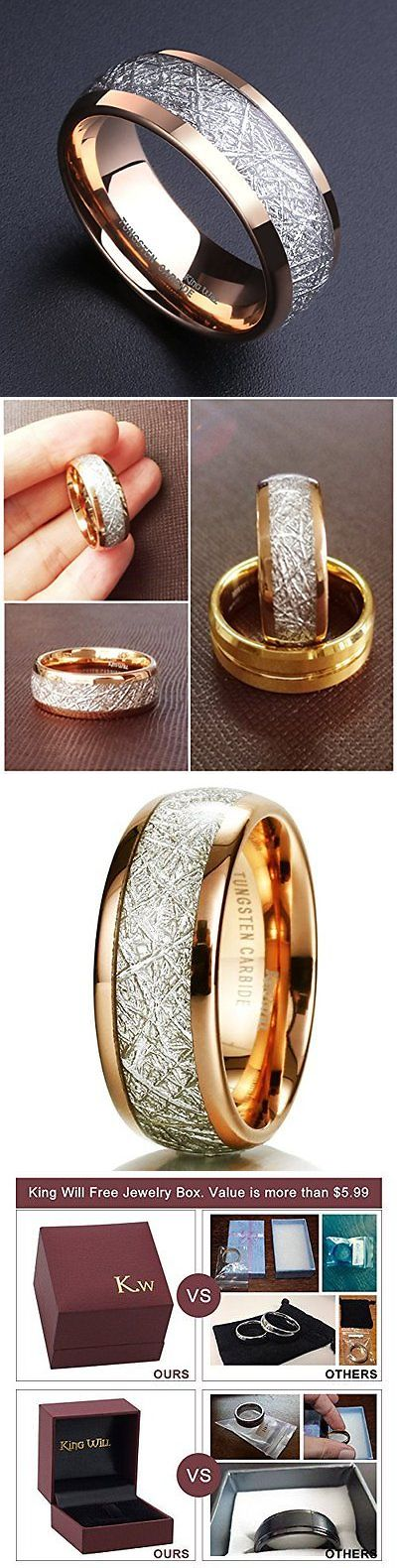 Rings 137856: Mens 8Mm Domed 14K Gold Tungsten Carbide Ring Meteorite Inlay Wedding Band New BUY IT NOW ONLY: $113.72