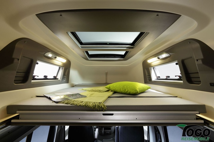 Upper bed in the Westfalia Sven Hedin - light and airy with the skylight. The Sven Hedin is very similar to the James Cook layout.